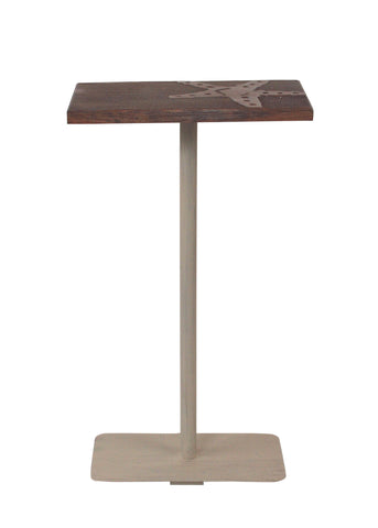 Modern Country Style Accent Table - Cottage/Weathered Stain Wood Top Drink Table w/Starfish Accent