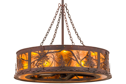 "Rustic Cabin Ceiling Lights Meyda 161486 - 44""W Tamarack Chandel-Air"