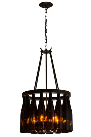 "Modern Rustic Style Ceiling Lights Meyda 163818 - 17""W Tuscan Vineyard Estate 16 Wine Bottle Chandelier"