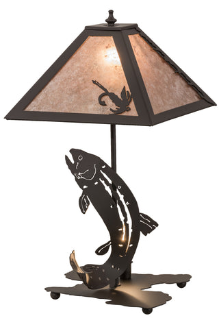 "Rustic Log Cabin Table Lamps Meyda 164182 - 21.5""H Leaping Trout Table Lamp"