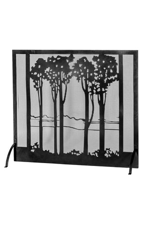 "Modern Cabin Style Fireplace Screens Meyda 165940 - 55""W X 48""H Tall Poplars Fireplace Screen"