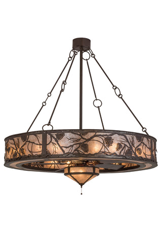 "Rustic Cabin Ceiling Lights Meyda 169287 - 56""W Whispering Pines W/Fan Light Chandel-Air"