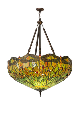 "Rustic Log Cabin Ceiling Lights Meyda 172706 - 38""W Tiffany Hanginghead Dragonfly Inverted Pendant Light"