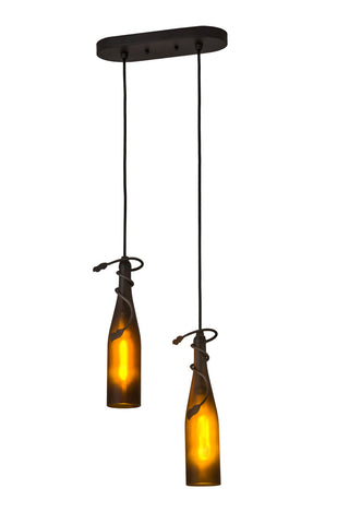 "Rustic Country Style Ceiling Lights Meyda 175734 - 12""L Tuscan Vineyard 2 Wine Bottle Island Pendant Light"