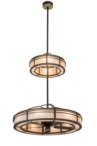 "Country Style Ceiling Lights Meyda 176338 - 58""W Sargent 2 Tier Chandel-Air"