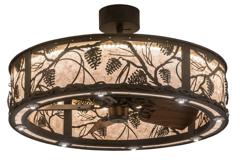"Modern Lodge Style Ceiling Lights Meyda 176825 - 36""W Whispering Pines Chandel-Air"