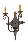 "Country Wall Sconce Lighting Meyda 177298 - 12""W Angelique 2 LT Wall Sconce"