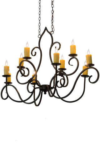 "Modern Country Ceiling Lights Meyda 178811 - 48""L Clifton 10 LT Oblong Chandelier"