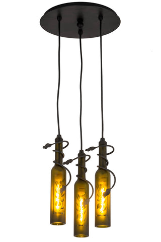 "Rustic Lodge Style Ceiling Lights Meyda 180049 - 12""W Tuscan Vineyard Olive Branch 3 LT Wine Bottle Cascading Pendant Light"