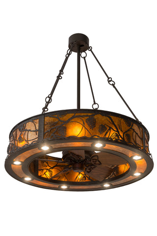 "Rustic Cabin Style Ceiling Lights Meyda 181388 - 45""W Whispering Pines Chandel-Air"