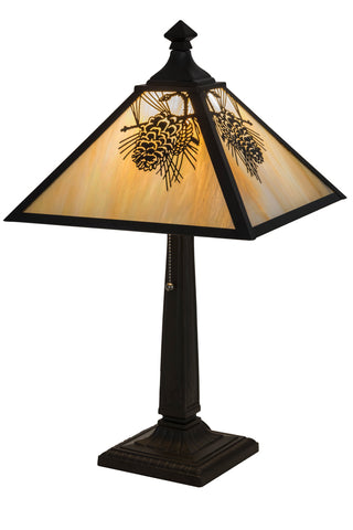 "Modern Log Cabin Table Lamps Meyda 181590 - 23.5""H Winter Pine Table Lamp"