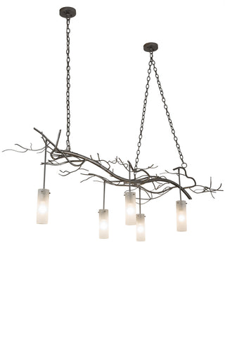 "Modern Rustic Style Ceiling Lights Meyda 183234 - 72""L Winter Solstice Cilindro 5 LT Oblong Chandelier"