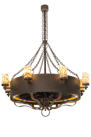 "Rustic Style Ceiling Lights Meyda 185627 - 54""W Parnella 8 LT Chandel-Air"