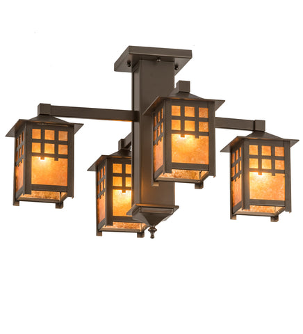 "Rustic Log Cabin Style Ceiling Lights Meyda 187189 - 26""W Seneca Window Pane 4 LT Chandelier"