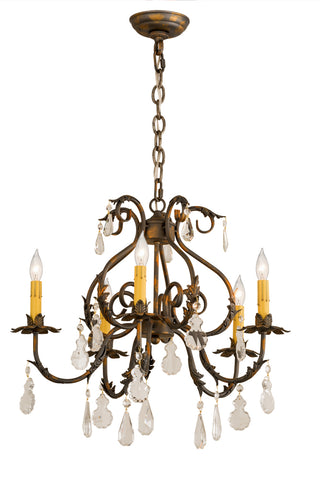 "Lodge Style Ceiling Lights Meyda 187262 - 24""W Chantilly 5 LT Chandelier"