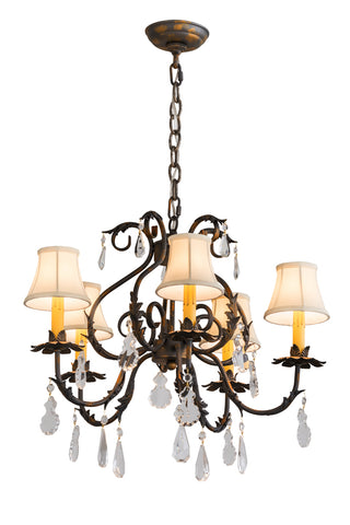 "Modern Lodge Ceiling Lights Meyda 187283 - 25""W Chantilly 5 LT Chandelier"