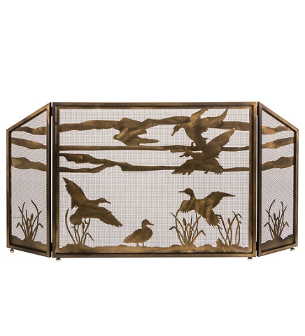 "Lodge Style Fireplace Screens Meyda 187785 - 66""W X 32""H Ducks in Flight Fireplace Screen"