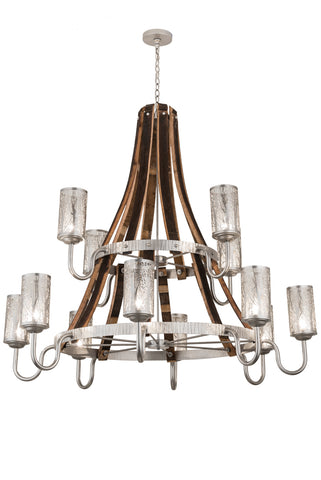 "Modern Log Cabin Style Ceiling Lights Meyda 187997 - 60""W Barrel Stave Winter Maple 12 LT Two Tier Chandelier"
