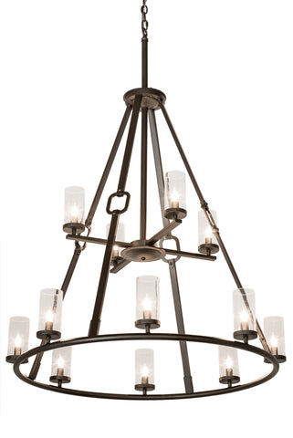 "Country Ceiling Lights Meyda 189559 - 38""W Loxley Hugo 12 LT Chandelier"