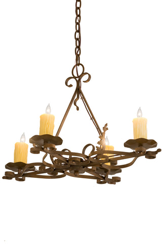 "Rustic Farmhouse Ceiling Lights Meyda 189728 - 28""L Elianna 4 LT Oblong Chandelier"