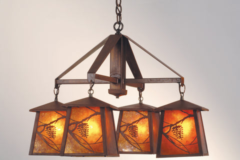 "Cabin Style Ceiling Lights Meyda 19055 - 28""W Whispering Pines 4 LT Chandelier"