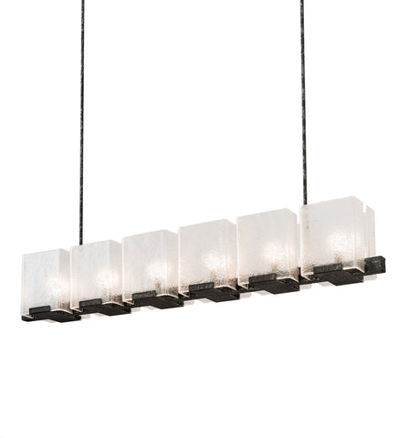 "Rustic Cabin Ceiling Lights Meyda 190616 - 60""L Ice Cube 6 LT Oblong Chandelier"