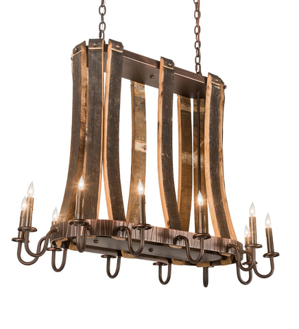 "Rustic Lodge Style Ceiling Lights Meyda 191902 - 40""L Barrel Stave Madera 12 LT Oblong Pendant Light"