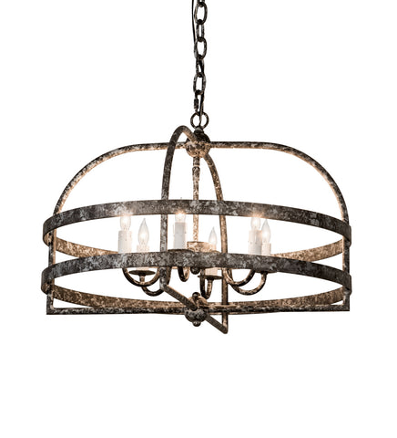"Rustic Log Cabin Style Ceiling Lights Meyda 192658 - 22""W Aldari 6 LT Chandelier"