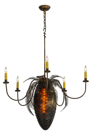 "Rustic Cabin Ceiling Lights Meyda 19829 - 36""W Pinecone 5 Arm Chandelier"