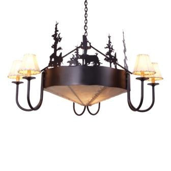 Log Cabin Style Lighting - Steel Partners Lighting 2009 - Rustic Chandelier - Rawhide - Bear