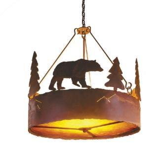 Cabin Style Lighting - Steel Partners Lighting 2010 - Rustic Chandelier - Bear