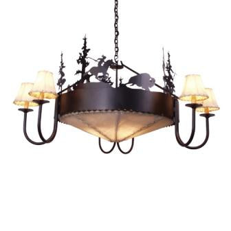 Modern Rustic Lighting - Steel Partners Lighting 2012 - Farmhouse Chandelier - Rawhide - Buffalo