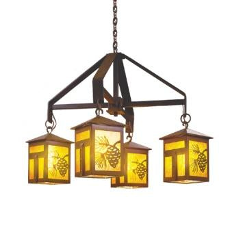 Rustic Cabin Lighting - Steel Partners Lighting 2050 - Rustic Chandelier - Mission (Small)