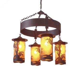 Modern Lodge Style Lighting - Steel Partners Lighting 2061-63 - Rustic Chandelier - Pasadena Pinecone