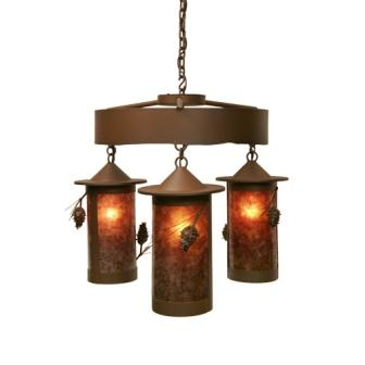 Modern Cabin Style Lighting - Steel Partners Lighting 2061-65-3 - Rustic Chandelier - Pasadena Ponderosa Pine (3 Cages)