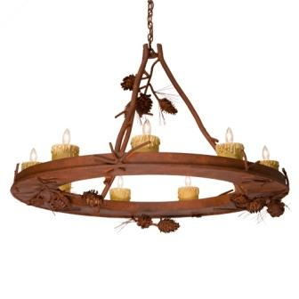 Cabin Lighting Fixtures - Steel Partners Lighting 2077-65 - Rustic Chandelier - Steel Creek - Ponderosa Pine (9 Candle Lights)
