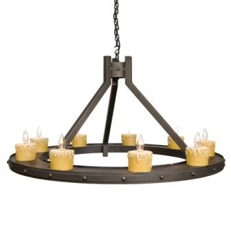 Lodge Style Lighting Fixtures - Steel Partners Lighting 2077-74 - Rustic Chandelier - Steel Creek - Rivets (9 Candle Lights)