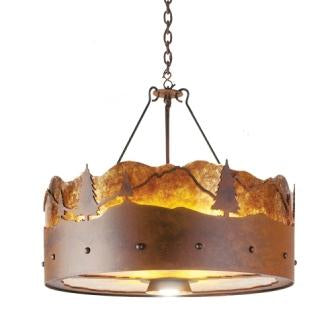 Log Cabin Style Lighting Fixtures - Steel Partners Lighting 2078-24 - Rustic Chandelier - Timber Ridge