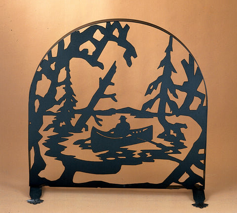 "Rustic Lodge Fireplace Screens Meyda 22387 - 30""W X 30""H Canoe At Lake Arched Fireplace Screen"