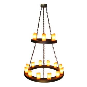 Modern Rustic Farmhouse Style Lighting - Steel Partners Lighting 2402 - Candle Chandelier - Two Tier