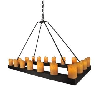 Modern Rustic Lodge Lighting - Steel Partners Lighting 2403 - Candle Chandelier - Rectangle