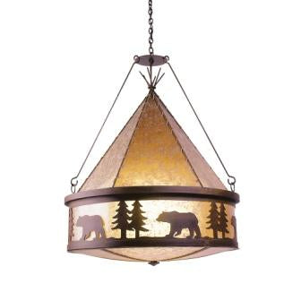 Modern Rustic Lodge Style Lighting - Steel Partners Lighting 2410-TP - Chandelier - Bear Teepee