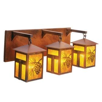 Lake House Lighting Fixtures - Steel Partners Lighting 2650-3 - Rustic Vanity Lights - Mission Lake Triple (3 Bulbs)