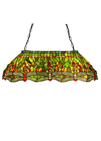 "Lodge Ceiling Lights Meyda 26547 - 32""L Tiffany Hanginghead Dragonfly Oblong Pendant Light"