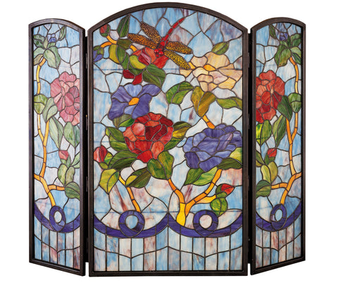 "Modern Lodge Style Fireplace Screens Meyda 27234 - 40""W X 34""H Dragonfly Flower Fireplace Screen"