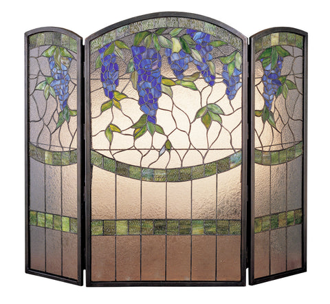 "Modern Cabin Style Fireplace Screens Meyda 27235 - 40""W X 34""H Wisteria Fireplace Screen"