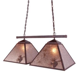 Modern Rustic Log Cabin Lighting Fixtures - Steel Partners Lighting 2763-D - Double Game Light - Pinecone