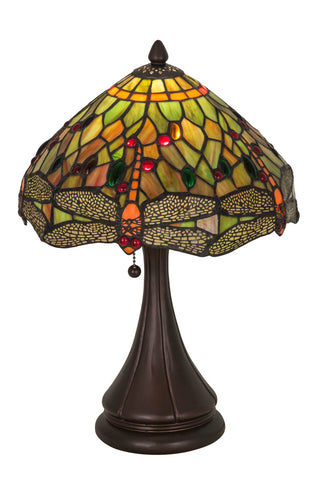 "Modern Log Cabin Table Lamps Meyda 28460 - 18""H Tiffany Hanginghead Dragonfly Accent Lamp"