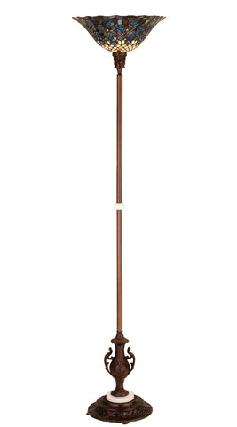 "Rustic Lodge Style Floor Lamps Meyda 28505 - 70""H Tiffany Peacock Feather Torchiere"
