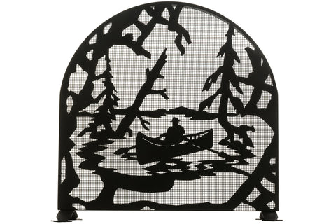 "Rustic Fireplace Screens Meyda 28741 - 30""W X 30""H Canoe At Lake Arched Fireplace Screen"
